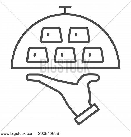 Gold Bars On Tray Thin Line Icon, Finance Concept, Wealth On Covered Tray Sign On White Background,