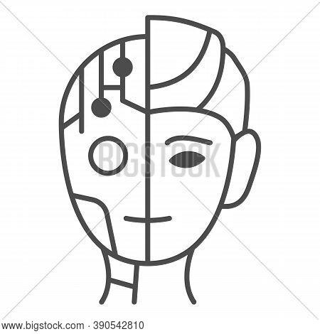 Robot Man Thin Line Icon, Robotization Concept, Neuro Interface Sign On White Background, Digital Bi