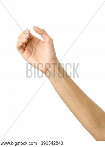 Giving, Reaching Or Holding Hand. Woman Hand Gesturing Isolated On White