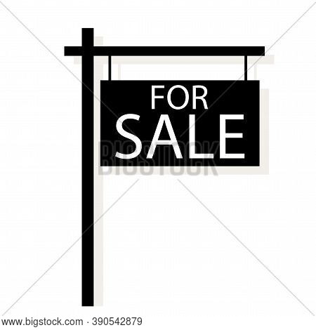Vector House Sale Sign. Property Sale Board. Real Estate Agent Icon. Stock Image.