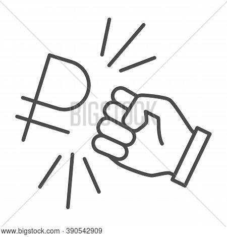 Fist And Ruble Currency Thin Line Icon, Economic Sanctions Concept, Hit Ruble With Arm Sign On White