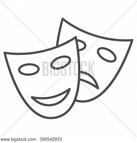 Theatrical Masks Thin Line Icon, Sea Cruise Concept, Masquerade Sign On White Background, Funny And