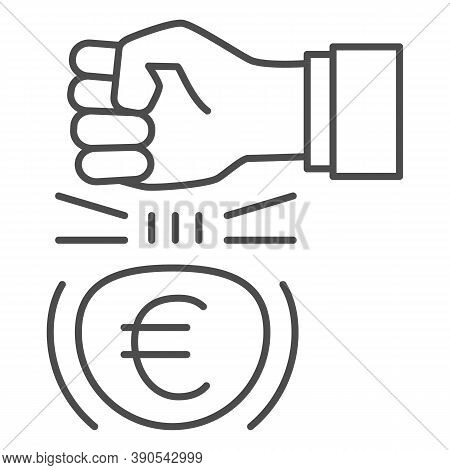 Fist And Euro Currency Thin Line Icon, Economic Sanctions Concept, Hit Euro With Arm Sign On White B