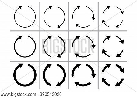 Circular Arrow Icon. Reset Symbol. Reload And Sync Template. Movement Sign. Vector Illustration.
