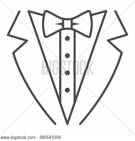 Tuxedo Thin Line Icon, Sea Cruise Concept, Gentleman Formal Dinner Jacket Sign On White Background,