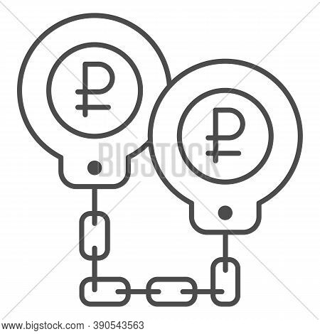 Ruble In Handcuffs Thin Line Icon, Economic Sanctions Concept, Rubles Are Shackled Sign On White Bac