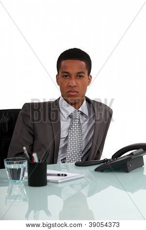 Young executive sitting by the phone