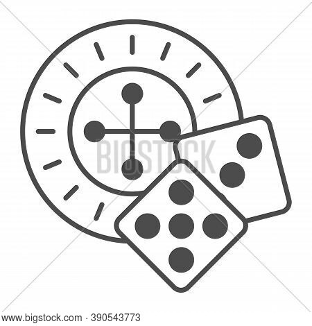 Roulette And Dice Thin Line Icon, Sea Cruise Concept, Casino Sign On White Background, Roulette With