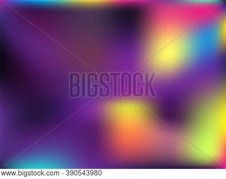 Blurred Hologram Texture Gradient Wallpaper. Magic Neon Party Graphics Background. Hologram Colors L