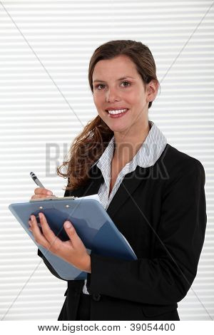 Office worker with a clipboard