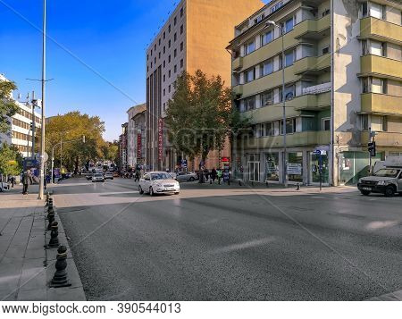 Turkey, Ankara - October 23, 2019: Ankara Cityscape With A Sergah Hotel On Haci Bayram, Cankiri Cd S