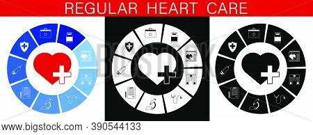 Heart Care Infographics. Regular Medical Examinations. Health Care. First Aid Kit, Stethoscope, Pill