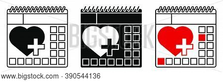 Heart Shaped Icon On Calendar Background. Regular Medical Examinations. Health Care, Healthy Lifesty