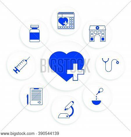 Heart Care Infographics. Regular Medical Examinations. Health Care. Stethoscope, Vitamins, Syringe,
