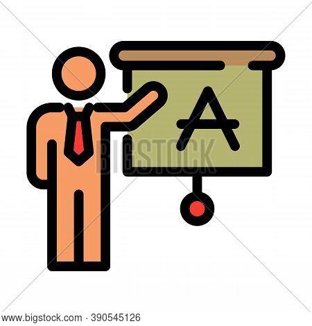 Foreign Language School Teacher Icon. Outline Foreign Language School Teacher Vector Icon For Web De