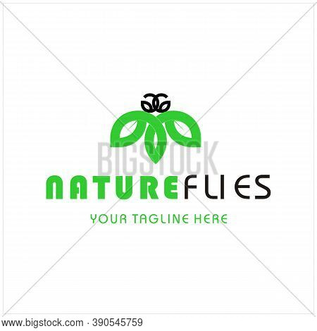 Minimalist Elegant Natural  Fireflies Wings Logo Design With Initial Letter G And Green Leaves