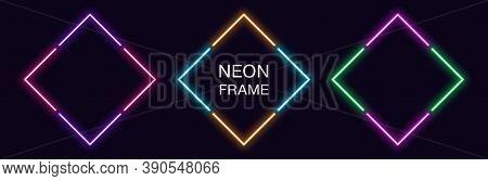Neon Rhomb Frame. Set Of Rhombus Neon Border In 4 Angular Parts. Geometric Shape With Copy Space, Fu