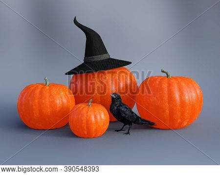 3d Rendering Of Four Halloween Fall Pumpkins With A Witch Hat And A Black Raven.