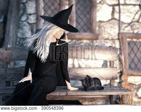 3d Rendering Of An Old Friendly Looking Witch Sitting On A Bench Outside Her House With A Black Cat