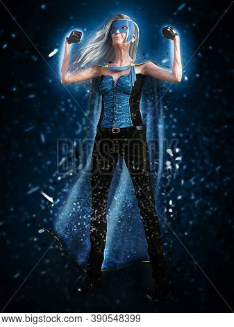 3d Rendering Of An Old Woman With Long Grey Hair Posing As A Superhero Wearing A Mask And Cape.