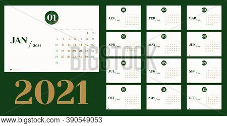 Vector 2021 New Year Calendar Planner Template In Minimal Table Simple Style With Marble Month Textu