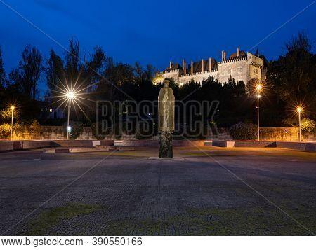 Palace of Duques de Brangança at the dusk, Guimaraes Portugal