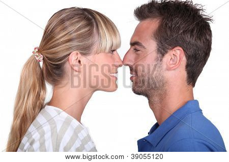 couple rubbing noses
