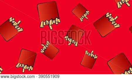 French Fries On A Red Background, Pattern, Vector Illustration. Delicious Fried Food, Delicious Lunc