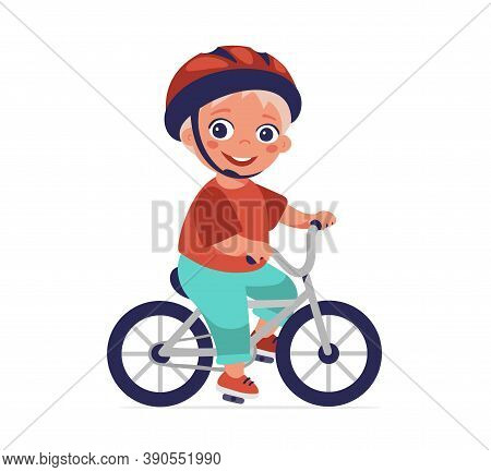 The Boy Is Riding A Bicycle. Safe Riding, Helmet Use, Sports And Hobbies, Healthy Lifestyle. Cartoon