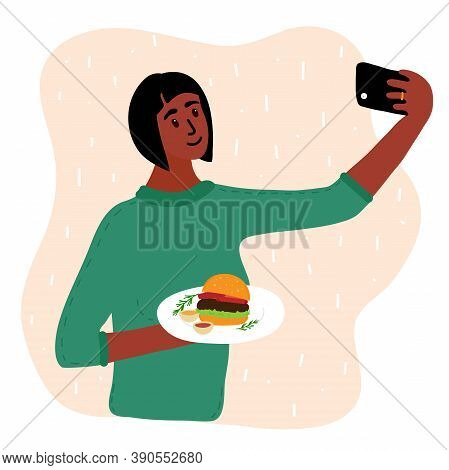 Black African Woman Food Blogger Making Photo Selfie With Hamberger And Sauce For Blog. Cute Girl Wi