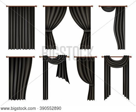 Black Window Curtain And Drape Mockup Set, Vector Isolated Illustration. Realistic Hanging Flutterin