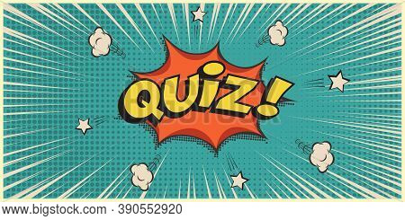 Quiz Game Show Retro Background. Vintage Trivia Night Poster In Pub. Marketing Design Vector Illustr