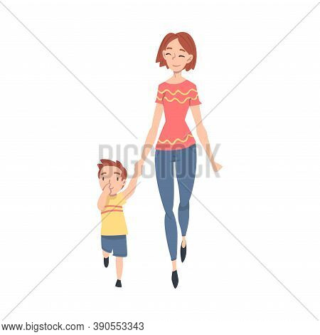 Mother Taking Her Little Son To The School Or Kindergarten In The Morning, Parent And Boy Walking To