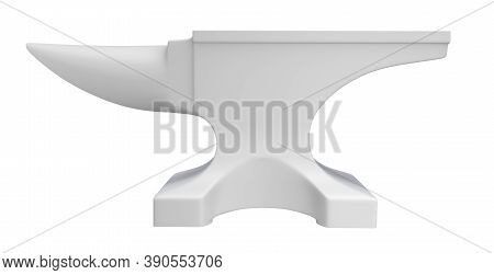 Clay Render Of Iron Anvil Isolated On White Background - 3d Illustration