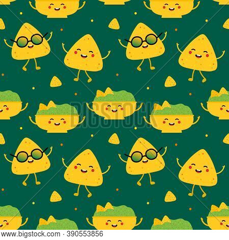 Cute And Smiling Cartoon Style Nachos And Guacamole Characters Vector Seamless Pattern Background Fo