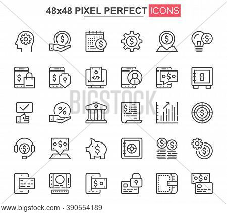 Online Banking Thin Line Icon Set. Credit Card Payment Outline Pictograms For Website And Mobile App