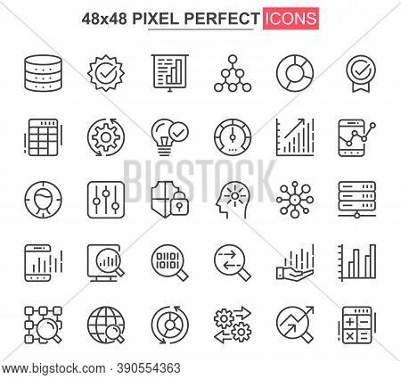 Big Data Analysis Thin Line Icon Set. Data Processing Outline Pictograms For Website And Mobile App