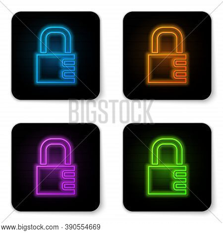 Glowing Neon Safe Combination Lock Icon Isolated On White Background. Combination Padlock. Security,