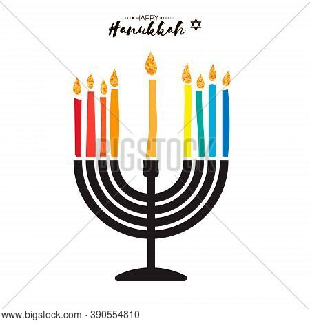 Happy Hanukkah. The Jewish Festival Of Lights. Festive Menorah On White Background.