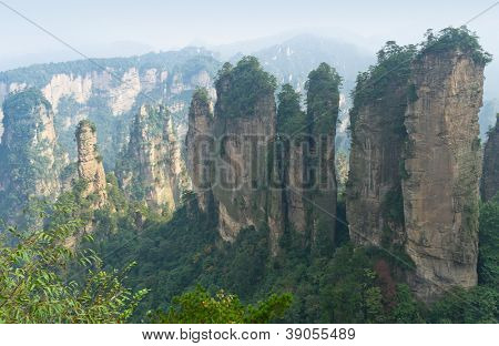 Sunrise at Zhangjiajie National Park, China. Avatar mountains