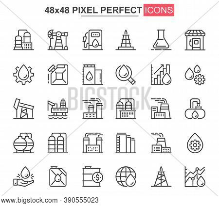 Heavy Industry Thin Line Icon Set. Industrial Manufacturing Outline Pictograms For Website And Mobil