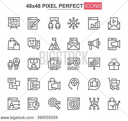 Digital Marketing Thin Line Icon Set. Marketing Research And Strategy Outline Pictograms For Web Or