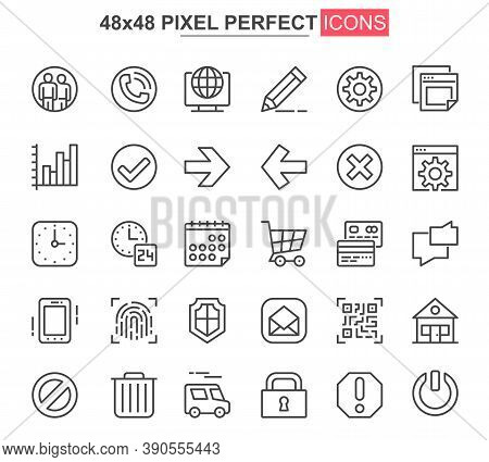 User Interface Thin Line Icon Set. Organization And Management Outline Pictograms For Website And Mo
