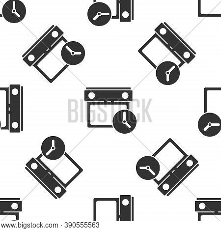 Grey Calendar And Clock Icon Isolated Seamless Pattern On White Background. Schedule, Appointment, O