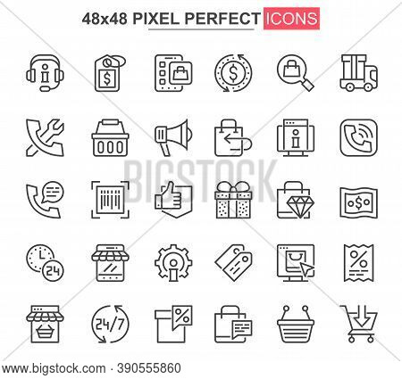 E-commerce Thin Line Icons Set. Online Shopping, Internet Marketplace Unique Design Icons. Customer