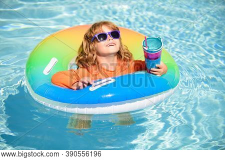 Summer Vacation Fun. Cocktail On Watter Pool In The Summer. Funny Portrait Of Child. Kid Having Fun