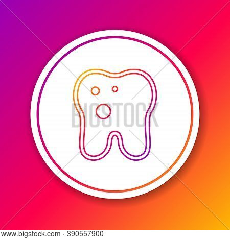 Color Line Tooth With Caries Icon Isolated On Color Background. Tooth Decay. Circle White Button. Ve