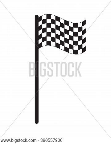Chequered Flag Icon. Checkered Black And White Sign. Check Pattern Poleflag Illustration. Motor Spor