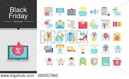 Black Friday Icons. Flat Design. Icon Set Of Black Friday And Cyber Monday. For Presentation, Mobile