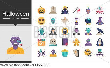 Halloween Icons. Flat Design. For Presentation, Mobile Application, Web Design. Vector Illustration.